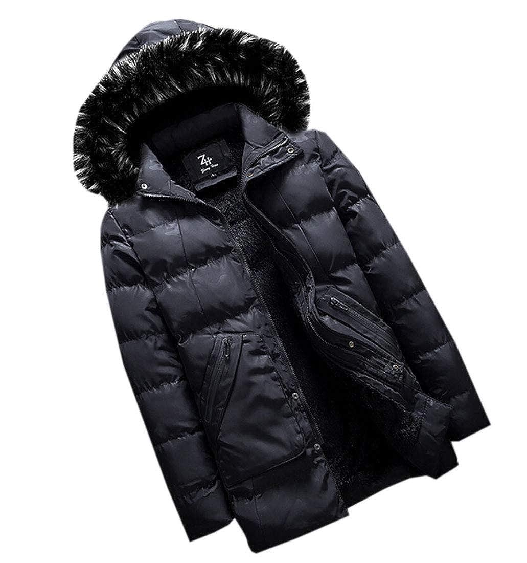 WSPLYSPJY Mens Hooded Dow Jacket Windproof Faux Fur Lined Windbreaker Coat Outerwear Warm Parka