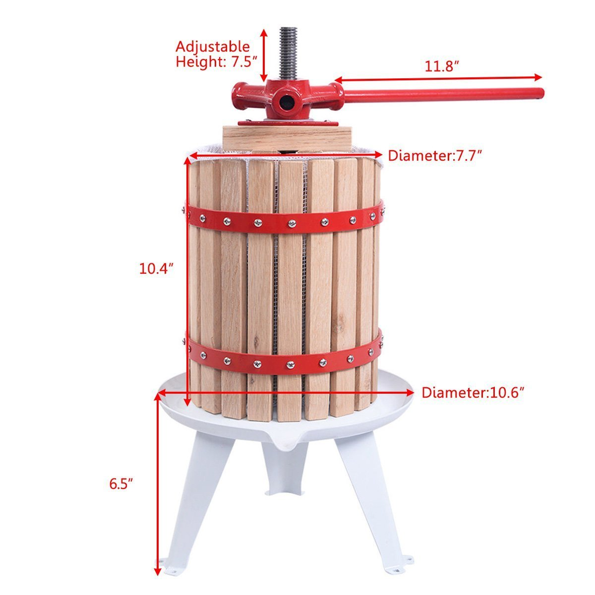 Useful UH-FP165 1.6 Gallon Solid Wood Basket Fruit and wine Press by Useful. (Image #9)