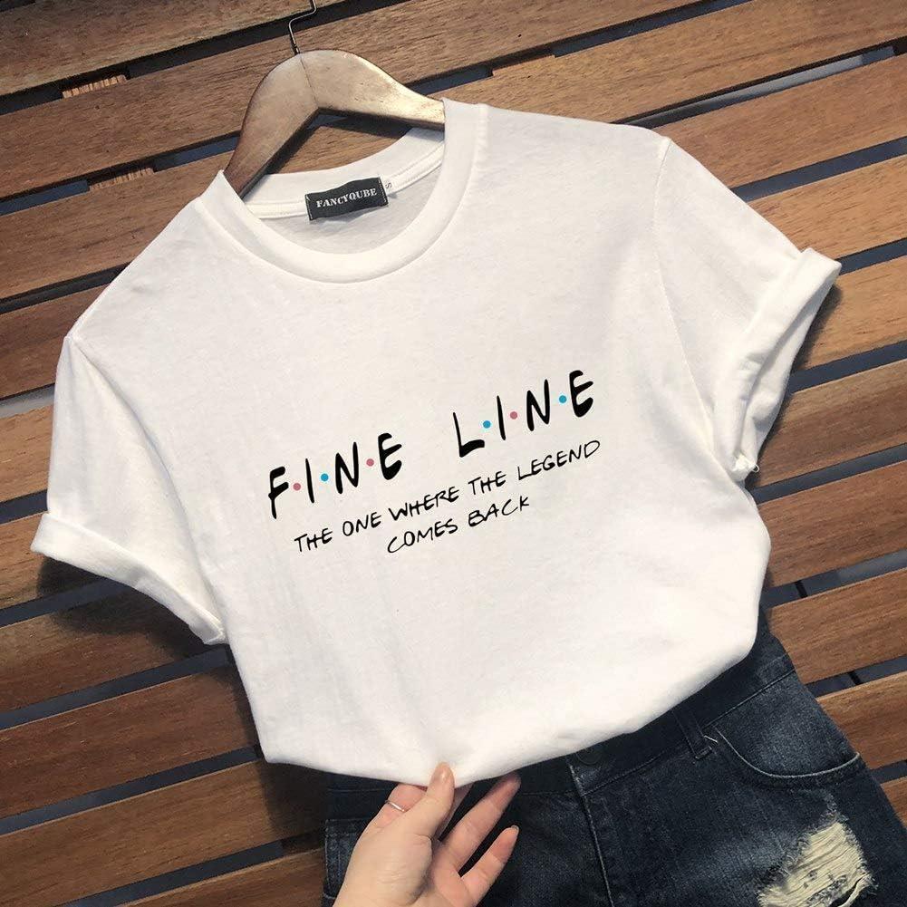 Queenromen Womens Fashion Fine Line Harry Styles is My Boyfriend T-Shirt Girls Casual Short Sleeve Tee Tops