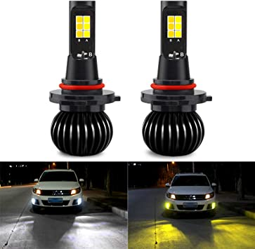 Switchback 6000K White//3000K Yellow Dual Color 9006 HB4 LED DRL Fog Light Bulbs