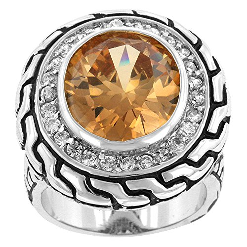 Element Jewelry Rhodium Plated Cocktail Ring with Champagne & Clear CZs- Size - Element Ring Jewelry