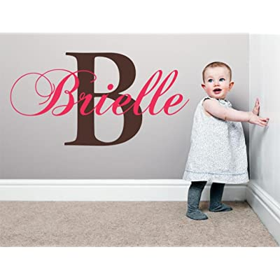 "Baby Girl Initial Personalized Custom Name Vinyl Wall Decal 36"" W by 20"" H, Girl Name Wall Decals, Wall Decal, Name Wall Decal, Nursery Name Decal, Girls Names, Plus Free White Hello Door Decal: Baby"