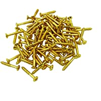 Musiclily 2.5 * 18mm Guitar Humbucker Pickup Ring Countersunk Screws,Gold (20 Pieces)