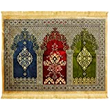 Hijaz Three Person Tan Fancy Intricate Tri-color Archway Chandelier Design Prayer Rug