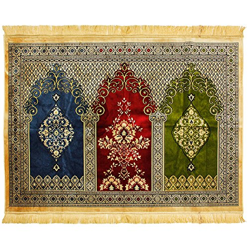 Hijaz Three Person Tan Fancy Intricate Tri-color Archway Chandelier Design Prayer Rug by Hijaz