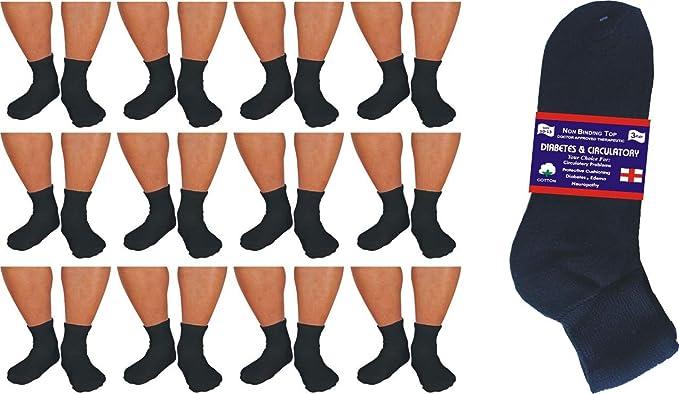Diabetic BLACK  ANKLE circulatory Socks Health Men's Cotton ALL SIZE