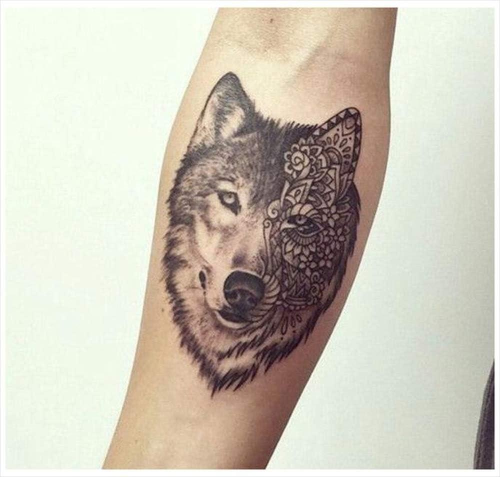 Tatuajes temporales con diseño de lobo de doble cara, para hombre ...
