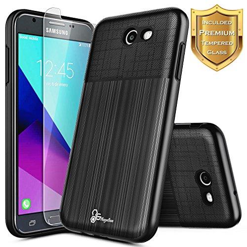 Galaxy J3 Prime Case, J3 Luna Pro/J3 Emerge/J3 Eclipse/J3 Mission/J3 2017/Sol 2/Amp Prime 2/Express Prime 2, NageBee Hybrid Shockproof Brushed Case w/[Tempered Glass Screen Protector] -Black