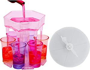 TEAYTIS 6 glass dispenser Beverage dispenser with game turntable, drink dispenser with stopper and brush for dispensing liquids for various parties (6 colored glasses included).