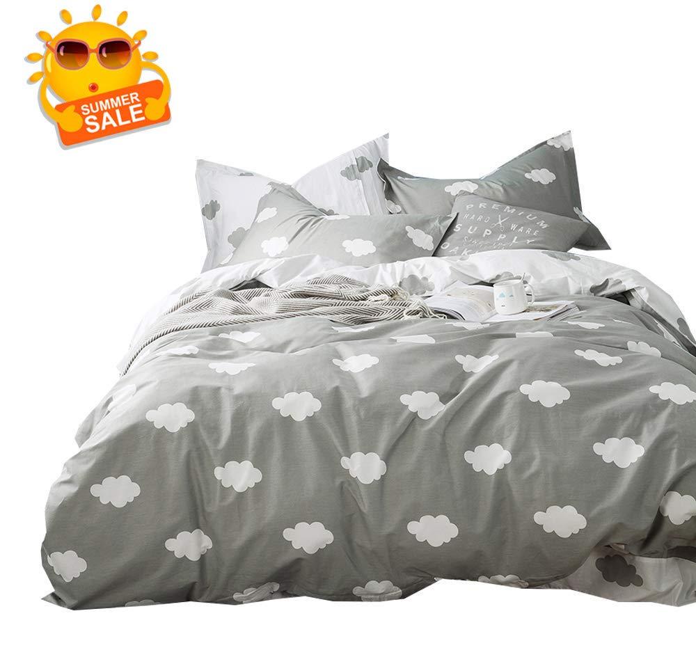 BuLuTu Cloud Print Kids Bedding Sets Twin Grey White 100% Cotton,Premium Reversible Teen Duvet Cover Set Twin Gray for Boys Girls Adults Zipper Closure,Lightweight,Soft,Breathable,No Comforter