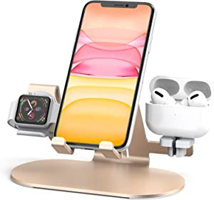 3 in 1 Aluminum Charging Station for Apple Watch Charger Stand Dock for iWatch Series SE/6/5/4/3/2/1, iPad, AirPods Pro/2/1 and iPhone 12/11/Xs/X Max/XR/X/8/ 8P/7/7P/6S/6S(Gold)
