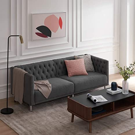 """Amazon.com: Mopio Sofa, Aiden Classic Contemporary Couch For Living Room, Tufted Sofa Design Includes Sturdy Chrome Legs And Fabric Upholstery 79.5""""W, Dark Gray/Deep Blue (Dark Gray): Kitchen & Dining"""
