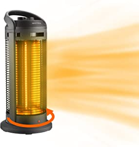 1500W Infrared Electric Space Heater- 90° Oscillation Portable Radiant Tower Heater with Over-Heat & Tilt Protection for Home Office Indoor Use
