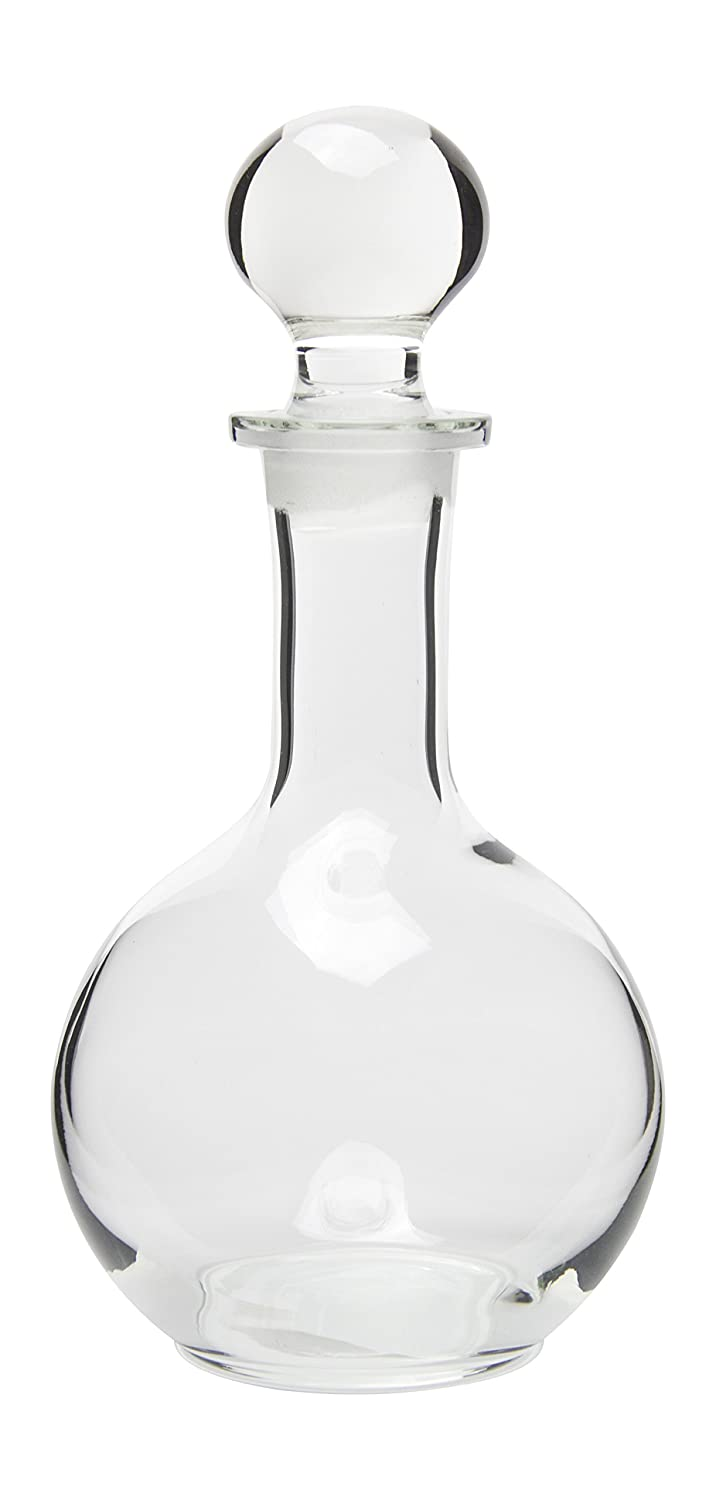 Hand Crafted Glass Liquor Decanter with Stopper, Small, 8 Ounce Red Co. 987456