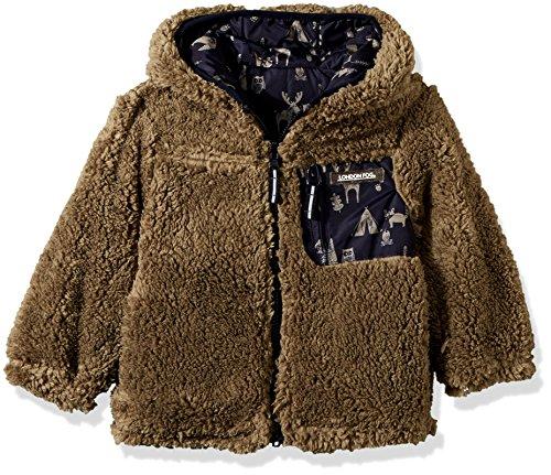 London Fog Boys' Little Reversible Fleece to Poly Jacket, Navy Animals Green, 7
