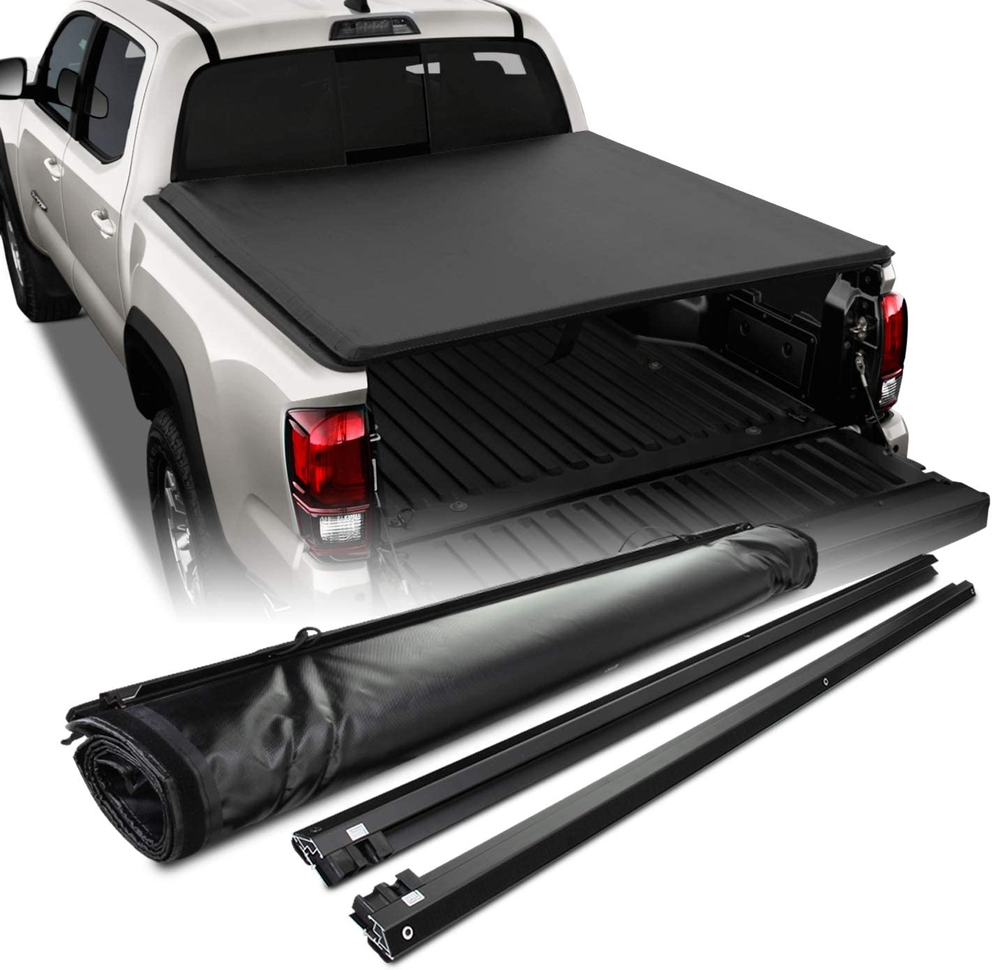Fits 2016-2020 Toyota Tacoma Crew//Extended Cab Pickup 5 Feet 60 Inches Bed Black Soft Roll Up Tonneau Cover /& Hardware