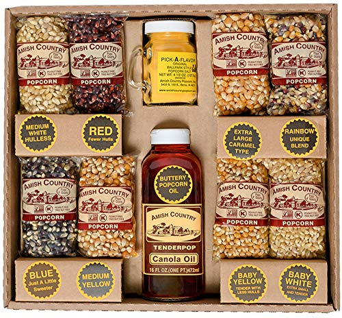 Amish Country Popcorn - 4 Ounce Variety Gift Set (8 Assorted) - Old Fashioned, Microwaveable, Stovetop and Air Popper Friendly with Recipe Guide (Popcorn Maker Gift Set)