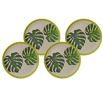 BIOZOYG Bio Bambus-Schalen Set Leafs I 2X Bambusschale rund 18x4,5 cm 600ml I Umweltfreundliches Bambus Geschirr Sch/üssel Bambus Dekoschale Obstschale Holzschale Salatschale Bambus Campinggeschirr