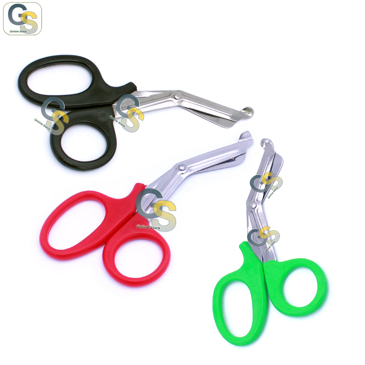 G.S 3 PCS (BLACK & RED & GREEN) PARAMEDIC UTILITY BANDAGE TRAUMA EMT EMS SHEARS SCISSORS 7.25 INCH STAINLESS STEEL