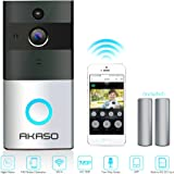 AKASO Video Doorbell, Smart Doorbell 720P HD Wifi Security Camera with 8G Memory Storage, Real-Time Video and Two-Way Talk, Night Vision, PIR Motion Detection and App Control for iOS and Android