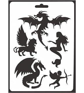 amazon com dragons head stencil 4 5 x 4 inch s reusable asian