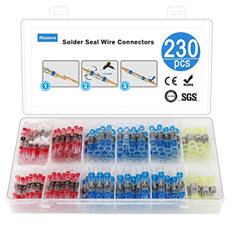 100X 16-14AWG Solder Sleeve Heat Shrink Tube Wire Terminal Connectors BLUE