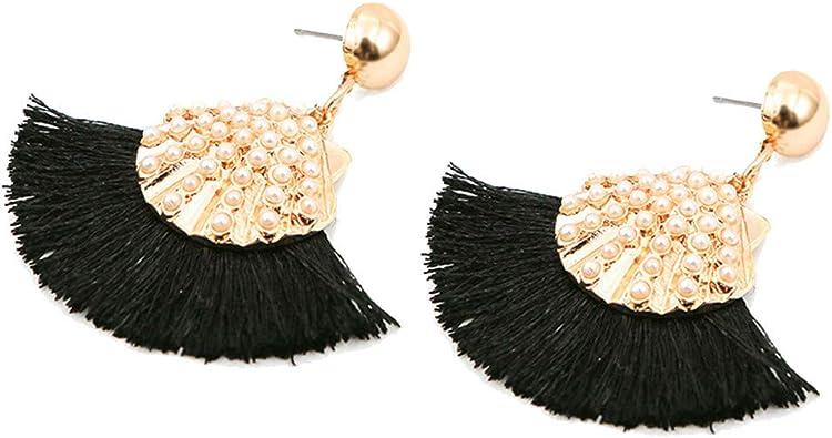 XLGX Femmes Fan Big Tassel Boucles doreilles en m/étal Boh/ème Frange Courte Hanging Oreille Dangle /ét/é Eardrop Bijoux