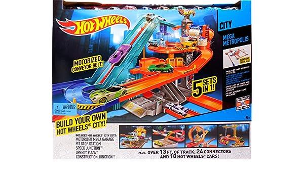 Hot Wheels City Mega Metropolis Motorized Race Track 10 Cars 5 ...