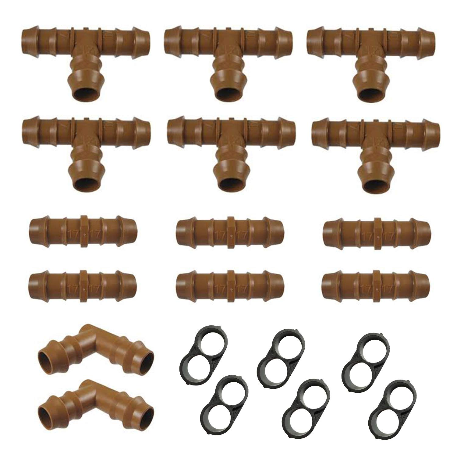 Habitech Irrigation Fittings Kit for 1/2'' Tubing 20 PIECE SET - 6 Tees, 6 Couplings, 2 Elbows, 6 End Cap Plugs - Barbed Connectors For Rain Bird And Compatible Drip or Sprinkler Systems