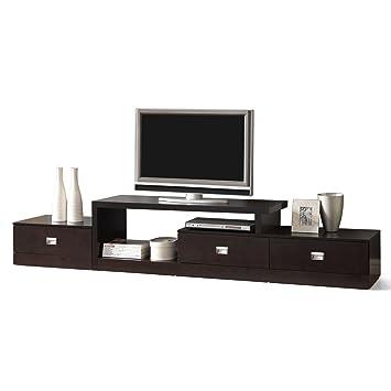 Amazon Com Baxton Studio Marconi Brown Asymmetrical Modern Tv Stand