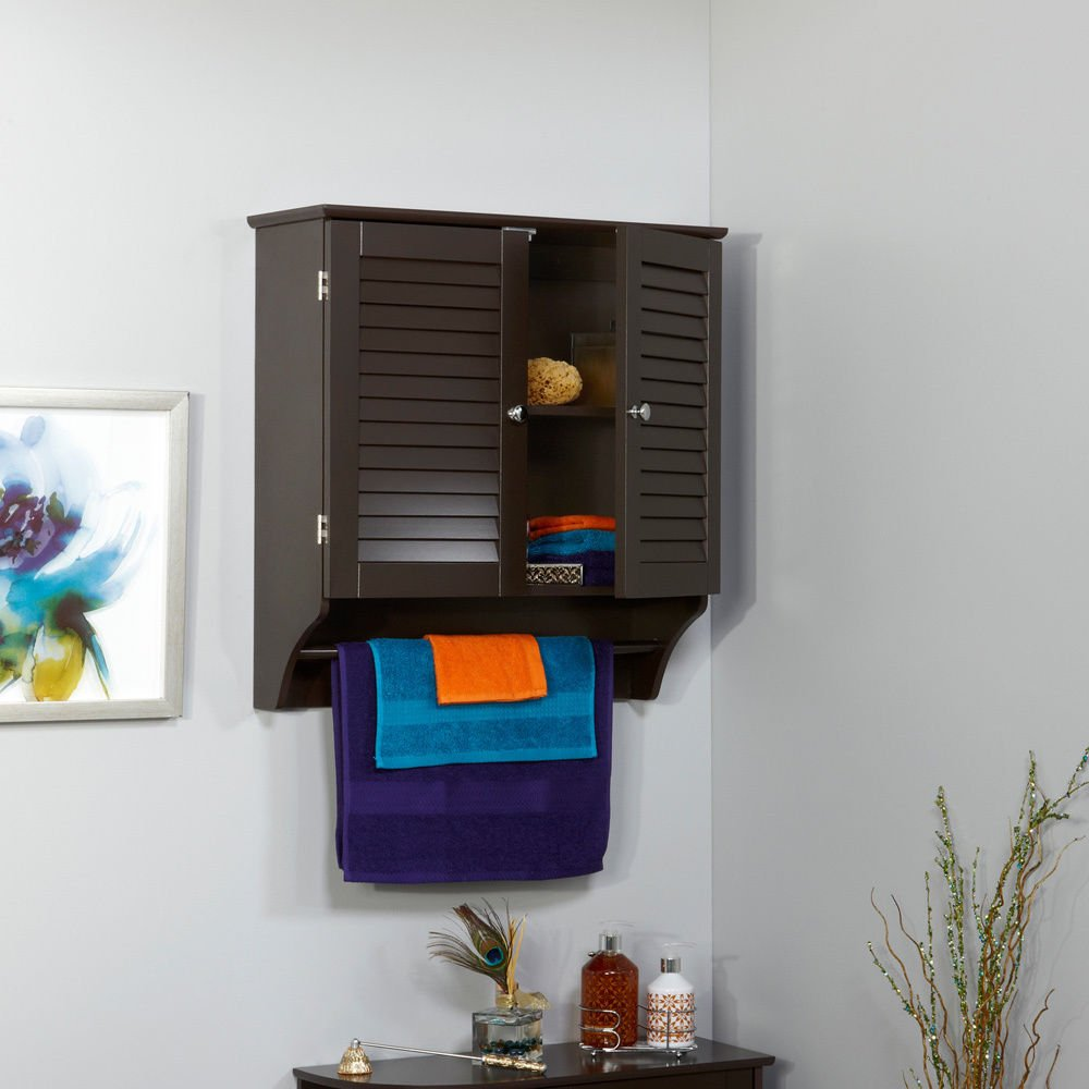 Modern Wood 2 Door Wall Cabinet with Inside Shelves and Towel Rack - Includes Modhaus Living Pen (Espresso)