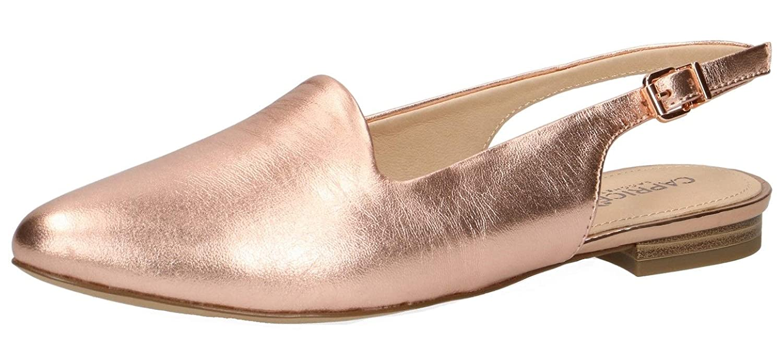 (596) Soft Rosa Met. CAPRICE Damen Alisa Slingback Ballerinas