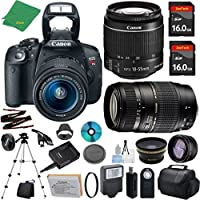 Canon T5i Camera with 18-55mm IS STM + Tamron 70-300mm AF Lens + 2pcs 16GB Memory + Case + Reader + Tripod + ZeeTech Starter Set + Wide Angle + Telephoto + Flash + Filter