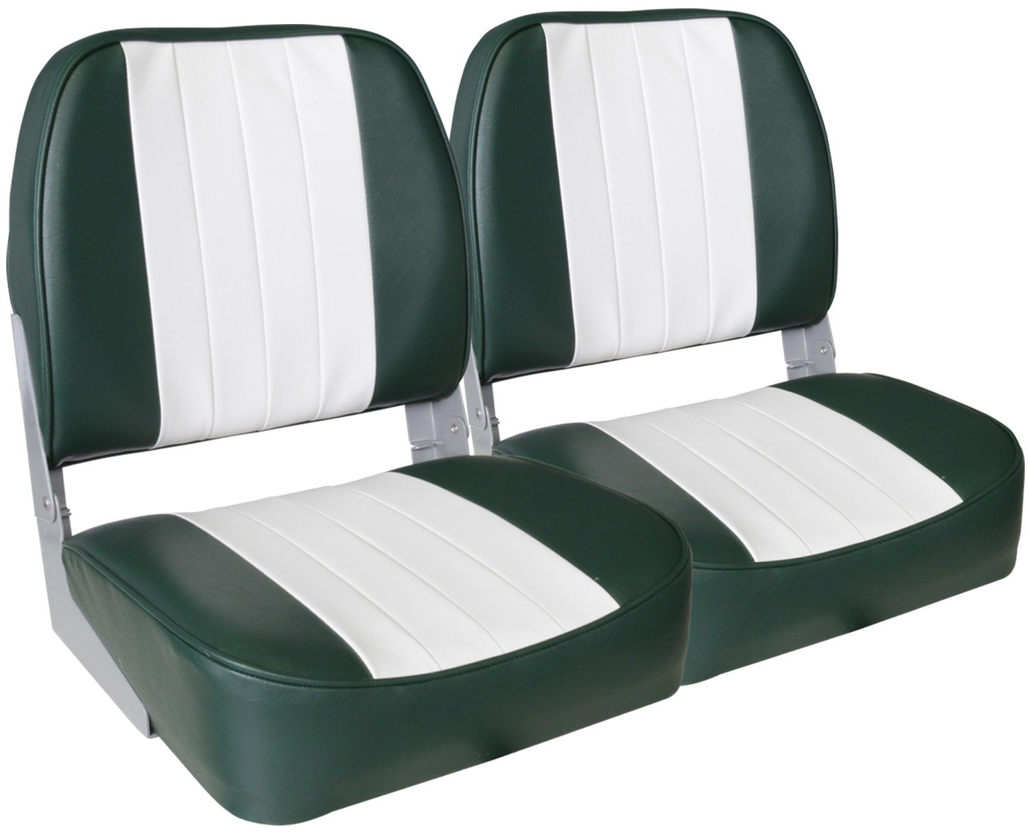 Leader Accessories A Pair of New Low Back Folding Boat Seats(2 Seats) (White/Green) by Leader Accessories
