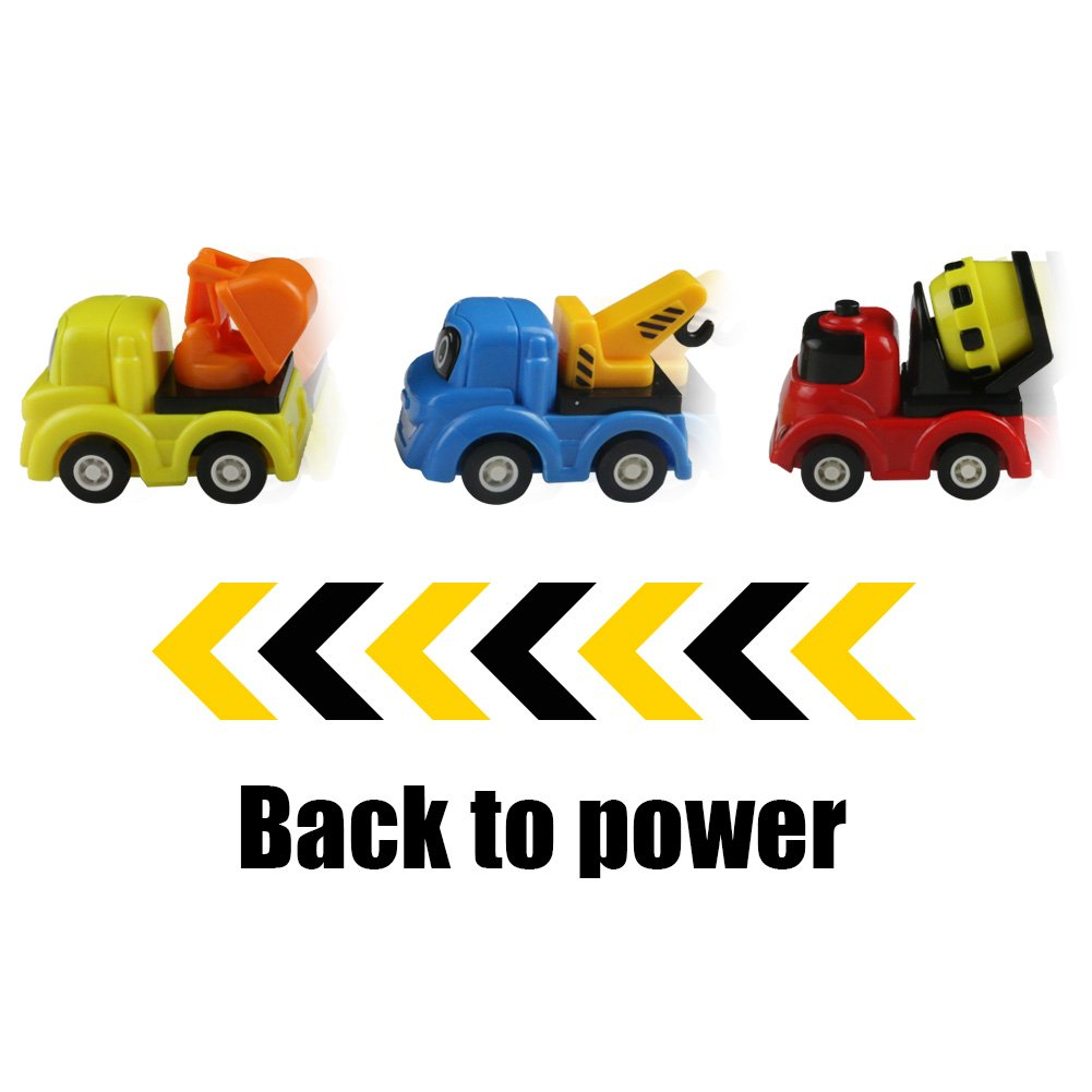 Toy Cars Pull Back Vehicles Mini Construction Truck Set Play Vehicle Game Excavator Cranes Mixers Dumper Truck Party Favors with Cute Smile Face 6 Pcs for Kids Boys Children