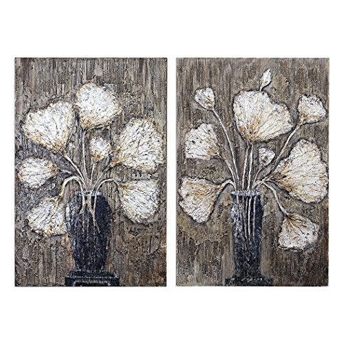 (Uttermost Clear Water Stems Floral Wall Art - Set of)