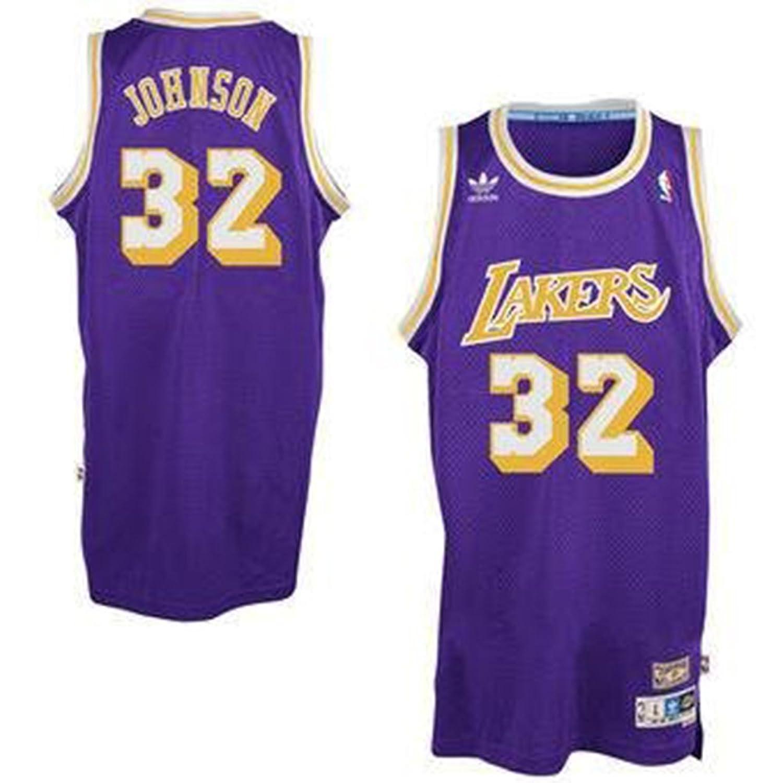 d42719dcb9d ... Magic Johnson 32 Los Angeles Lakers Adidas Hardwood Classics Youth  Jersey (Large) Amazon.