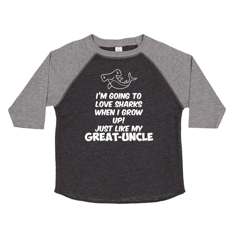 Toddler//Kids Raglan T-Shirt Just Like My Great-Uncle Im Going to Love Sharks When I Grow Up