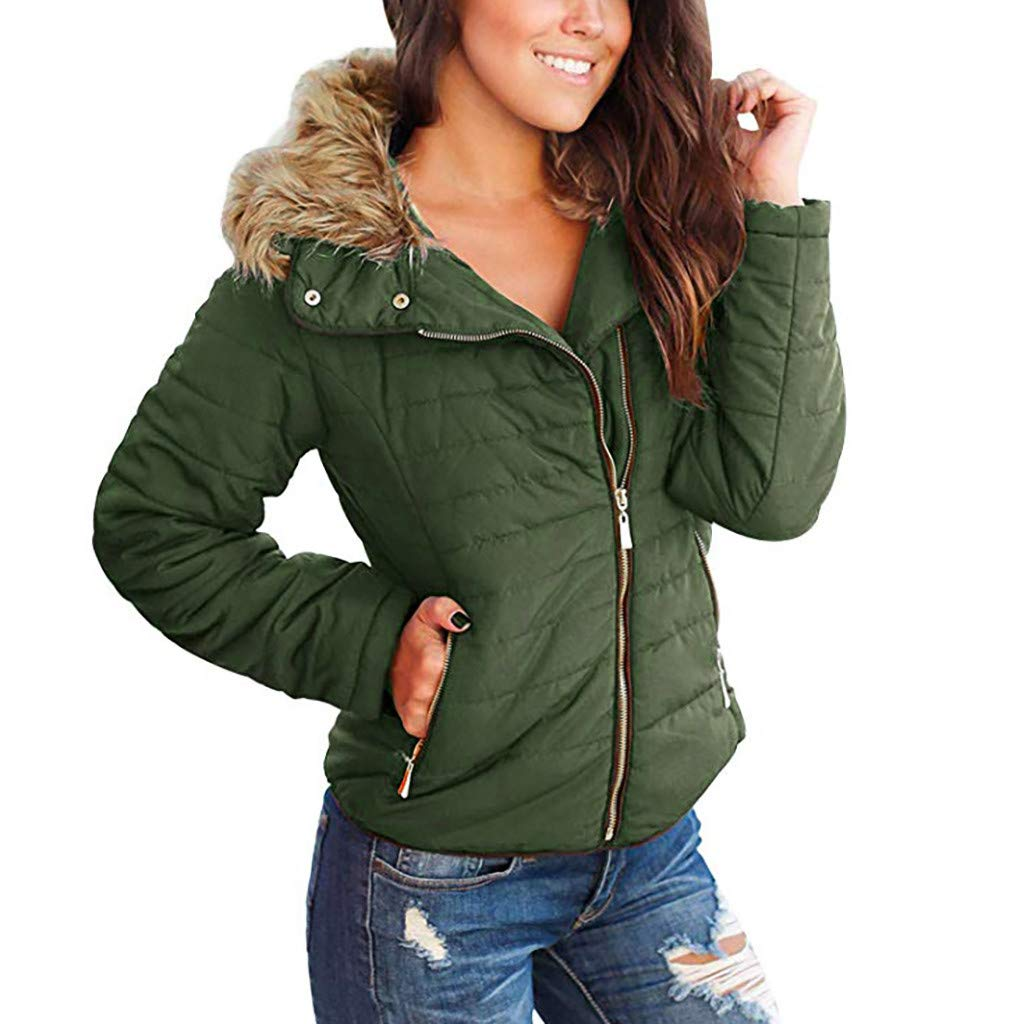 IEason Women Coat Winter Slim Casual Faux Fur Lapel Zip Pockets Quilted Parka Puffer Jacket Army Green by IEason Women Coat
