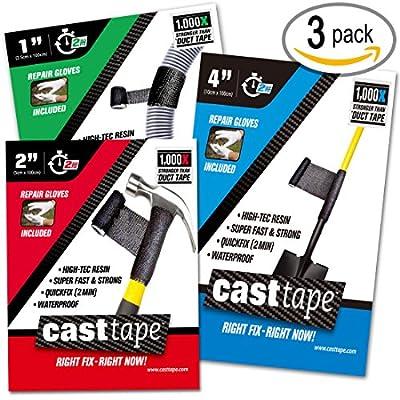 CASTtape - Super Epoxy Carbon Fiber Tape - 100x Strength of Duct Tape - Fix & Repair: Automotive, Plumbing, Pipe & Hose, Emergency, DIY
