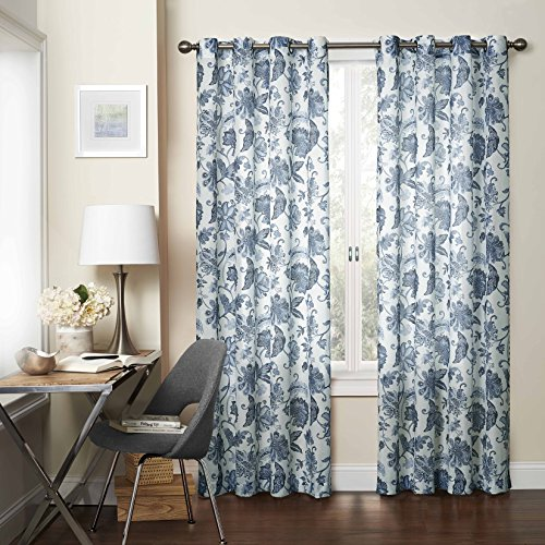 Cheap Eclipse 15459052095IND Wythe 52-Inch by 95-Inch Floral Light Filtering Single Sheer Curtain Panel, Indigo