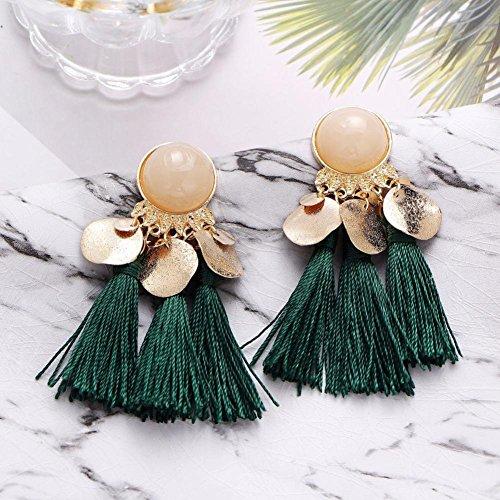 Bohemian D'oreilles Tassel Vert Femmes Weave Franges Charmant Bijoux Longues Sanfashion Boucles Fashion qgxBwCEFt