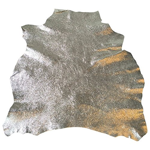 Best Quality Leather Hide - Spanish Full Skins - Light Gold Color - 3 sq ft - 2 oz. avg Thickness - Metallic Cracked Finish - Lambskin - Improve The Look of Your Projects Now! Cracked Metallic Leather