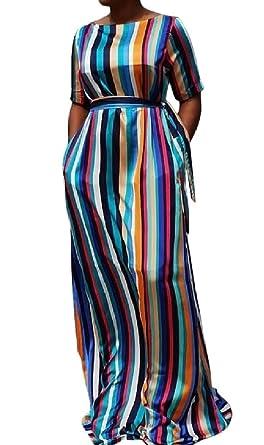 eceeade8c2b yibiyuan Women s Plus Size Stripe Short Sleeve Loose Rainbow Maxi Dress ...