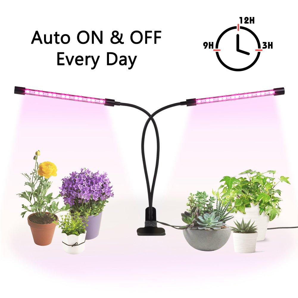 Grow Light for Indoor Plants, Ejoyous 24W Dual Head Grow Lamp 36LED 5 Dimmable Levels Grow Lamp Bulbs with Adjustable 360 Degree Gooseneck for Indoor Plants Hydroponics Greenhouse Gardening by Ejoyous