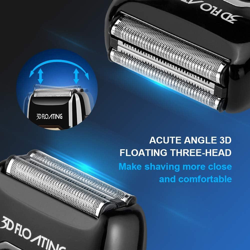 INSMART afeitadora eléctrica para hombres, resistente al agua, húmeda/seca, USB, recargable, inalámbrica, con pantalla LED, bloqueo de viaje y recortadora desplegable, color negro: Amazon.es: Belleza