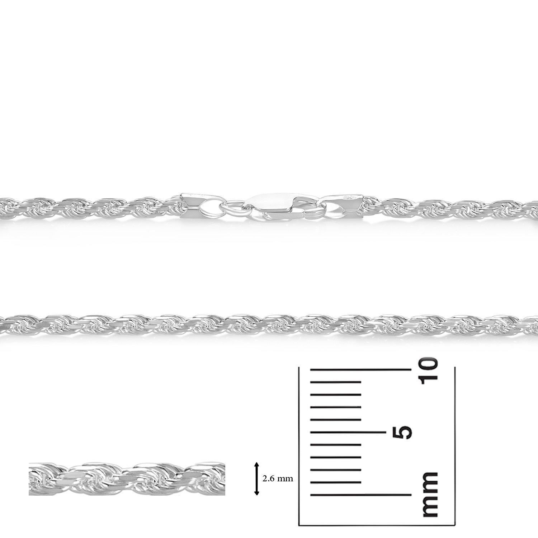 2.6mm 925 Sterling Silver Nickel-Free Diamond-Cut Rope Link Italian Chain + Bonus Polishing Cloth sKfcuvK6