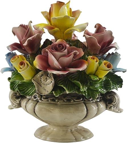 Capodimonte Authentic Handmade Italian Rose and Floral Bouquet Basket Centerpiece