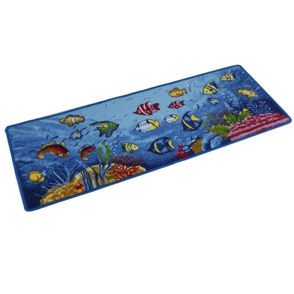 """YOXI - Passatoia da cucina con fantasia """"animali marini"""", tappetino con fondo in gomma antiscivolo, zerbino per porta d'ingresso, Sea World, 45*150cm"""
