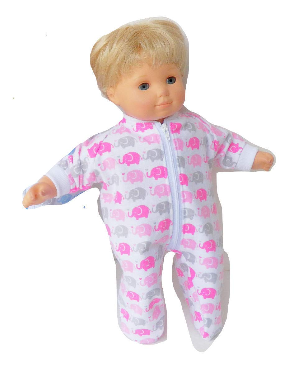 Bitty Baby Doll Clothes 15 Inch Boy and Girl Twin Sleepers Pink Blue Elephant Pajamas Clothes Only